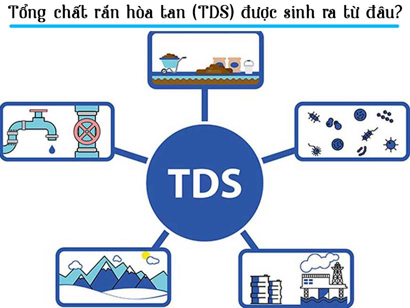 TDS được sinh ra từ các chất hữu cơ, đá vôi, dòng chảy từ nông nghiệp,..